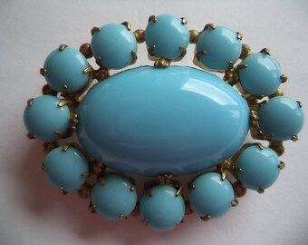 Vintage Unsigned Goldtone/Turquoise Oval Brooch/Pin