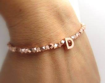 Rose Gold Initial Bracelet//Bridesmaid Jewelery//Bridesmaid Gift//Personalized Bracelet//Uppercase Initial Bracelet//Bridal Party Gifts//