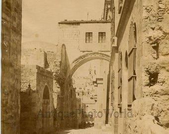 Ecce Homo arch Jerusalem Israel Palestine antique photo by Bonfils