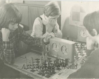 Children chess competition vintage sport photo