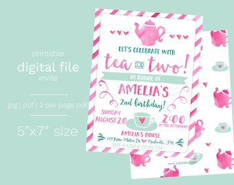 Tea for Two Birthday Invitation DIGITAL FILE Tea Party Birthday Invite Girl Pink Tea Pot and Tea Cup Watercolor Two Years Old Invite Girl