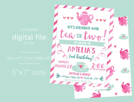 Tea For Two Birthday Invitation DIGITAL FILE Party