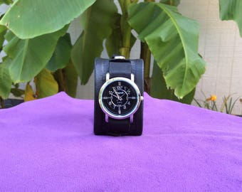 Women's Tooled Black Leather Cuff Watch