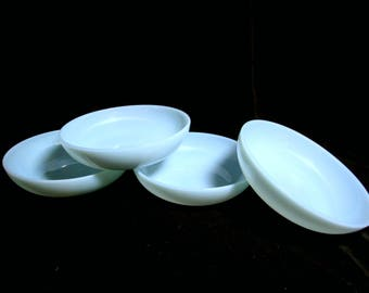 Fire King Cereal Bowls , Blue Turquoise, Set of 4, Excellent Condition,  Mid Century Dinnerware
