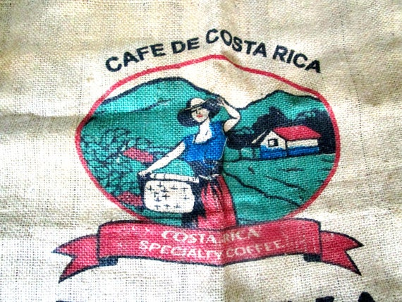 Large Burlap Coffee Bean Bag, Colorful Costa Rican Coffee Beans Sack, Cafe de Costa Rica, Imported in New Orleans