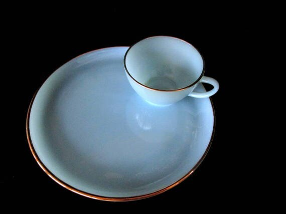 Fire King Blue Turquoise Hostess Set, Snack Plate and Cup, Gold Rimmed, Excellent Condition, 2 Avail