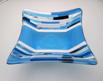 Blue Sky Transitions Fused Glass Bowl