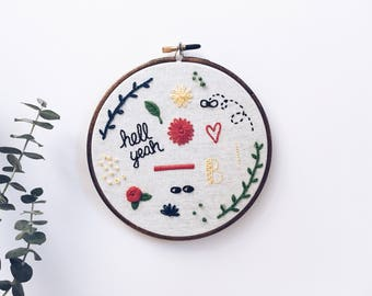 """Embroidered wall hanging // Large doodles hand embroidered wall hanging // 6.5"""" hoop (hell yeah, rose, fly, heart)"""