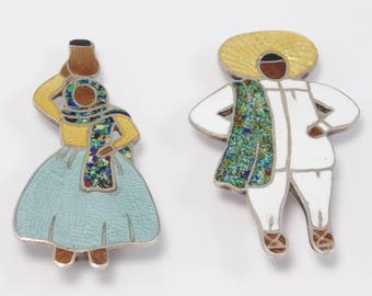 Pair Of Margot De Taxco Enamel Sterling Figural Brooches Fun