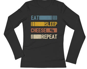 Eat Sleep Cheese Repeat Funny Vintage Retro Cheeseboard Gift