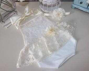 Sitter romper -- halter romper with skirted front -- ivory