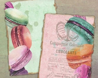 SALE: French Macaron Digital Backgrounds for ATC Aceo - Digital Collage Sheet ATC Cards - Collage - Altered Art - Journal Cards - Digital Sc