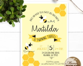 Bee Theme Birthday Party Printable Invitation - DIY - Buzz on Over - Sweet Bee Day - Girl or Boy Birthday Invitation Yellow Black
