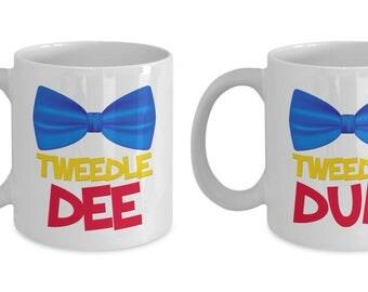 Disney Tweedle Dee and Tweedle Dum Gift Mugs MATCHING SET of TWO Coffee Cups