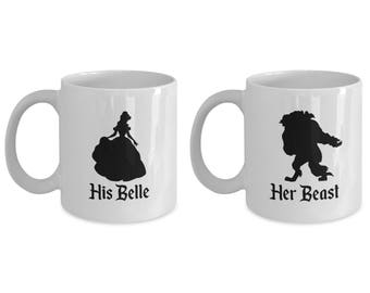 His Belle and Her Beast Mug Gift Coffee Cup Disney (SET of 2) Beauty and the Beast