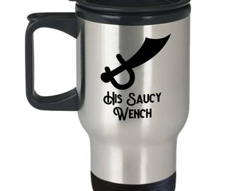 His Saucy Wench Funny Pirate Travel Mug Gift for Wife Girlfriend Caribbean Pirates Sarcastic Coffee Cup