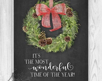 Most Wonderful Time of the Year Farmhouse Holiday Decor w Wreath, Holiday Art, Most Wonderful Time of the Year Holiday Art Print or Canvas