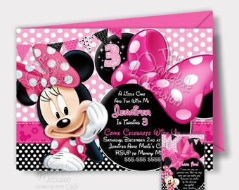 ANY AGE Minnie Mouse Birthday Invitation, Pink Minnie Mouse Birthday Invitation, diy, Chalkboard Minnie Mouse Invitation, Printable