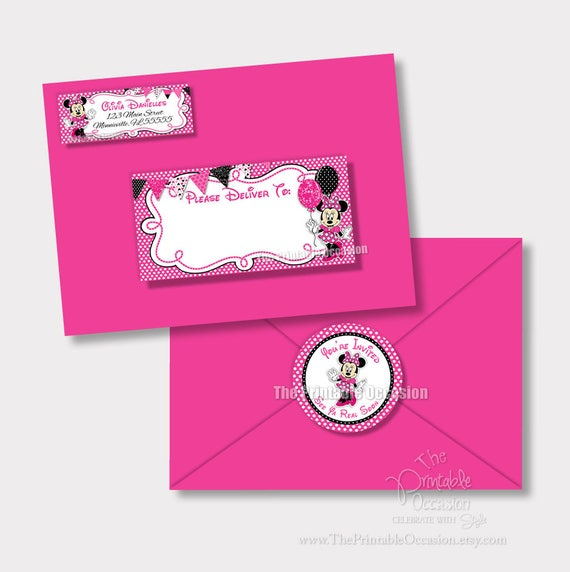 minnie mouse address labels and envelope seal pink minnie envelope