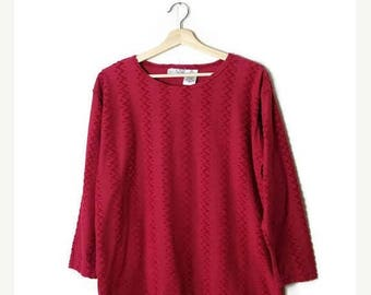 ON SALE Vintage Red Zigzag Long sleeve  T-Shirt from 90's*