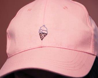 Pastel ice cream embroidered baseball cap