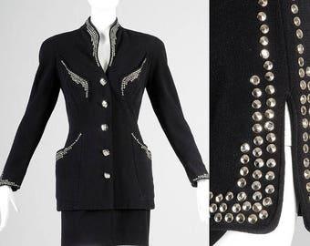 SALE Tadashi Suit Tadashi Skirt Suit 90s Black Skirt Suit 90s Femme Fatale Power Suit Silver Studs Punk Rock Fitted Tailored Hourglass XS
