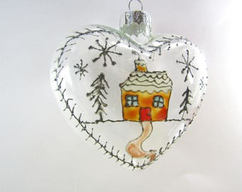 Limited Edition Hand Painted Heart Shaped Home Christmas Tree Decoration