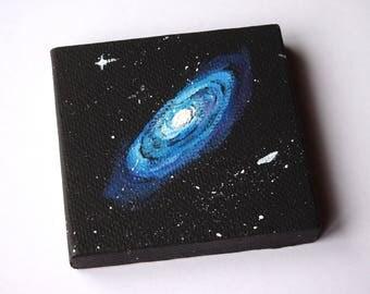 Blue Galaxy Painting - ORIGINAL PAINTING - Tiny Painting