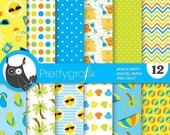 80% OFF SALE Beach party digital paper, commercial use, scrapbook papers, background - PS716