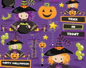 80% OFF SALE Halloween clipart commercial use, witch clipart vector graphics, witches digital clip art, wand digital images - CL1003