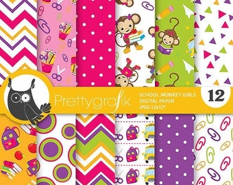 80% OFF SALE School monkey digital paper, commercial use, back to school scrapbook papers, background chevron, stripes - PS813