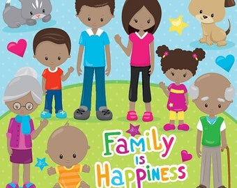 80% OFF SALE Happy family clipart commercial use, grandparents, vector graphics, digital clip art, digital images - CL856