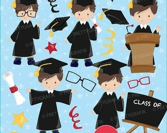 80% OFF SALE Graduation boys clipart commercial use, vector graphics, digital clip art, digital images - CL664