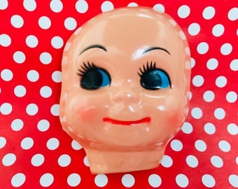 Vintage Plastic Celluloud Doll Face Big Eyed Doll Kitschy Craft Supply Doll Making
