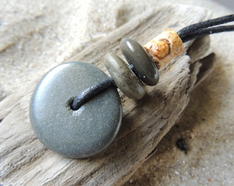 Handmade Natural Surf Tumbled 3 Beach Stone Stacked Cairn Necklace on Cotton Cord Man or Woman