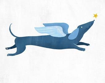 Angel Dachshund Seasons Greetings Card