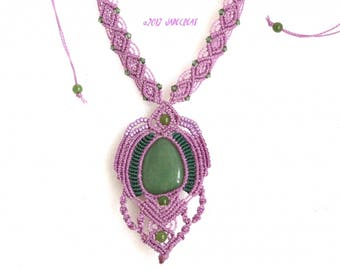 Necklace micro macrame and gemstone - purple and green - ref C. 0118