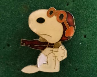 1980's scarce Snoopy Red Baron PIN vintage hat lapel enamel retro metal from vendor's board Charlie Brown Peanuts Gang dog pop culture