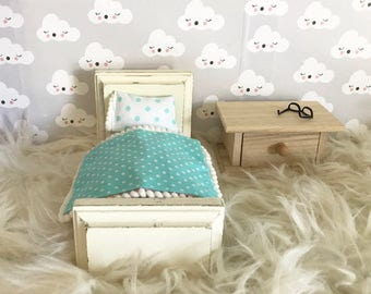 Dollhouse furniture, Barbie bed, doll bed, doll accessories