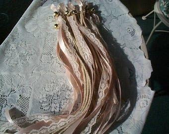 25 Wedding Wands Ivory Satin Ribbon and Natural Lace