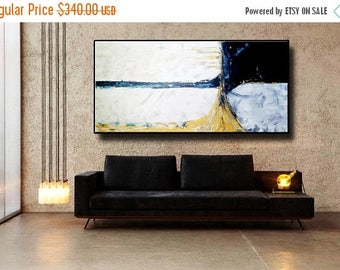 "SALE Yellow Black Gray White Mustard Mocca Blue 72"" Original Abstract Acrylic Painting on Canvas Wall Art Home Decor UNSTRETCHED Auxxl025"