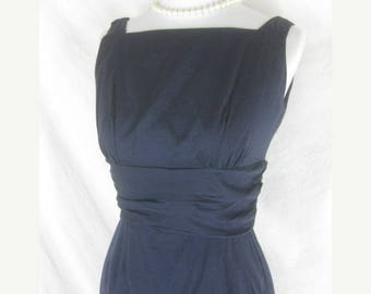 On sale 50s 60s Blue Womens Vintage Cotton Wiggle Party Dress W26