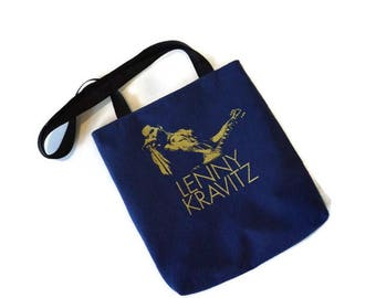 Lenny Kravitz Bag • Upcycled Tshirt Tote Bag • Recycled Lenny Kravitz Tee Shirt Shoulder Bag • Lenny Kravitz Gift • Recycled T Shirt Purse