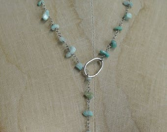 Turquoise Lariat Necklace, Wear multiple ways, Delicate Sterling Plated Circle and Rosary Chip Chain, Gift, One of a Kind By UPcycled Works