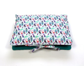 """Travel Lingerie Bag, Travel Accessory Bag, Liberty of London, Cotton, Tana Lawn & Poplin,""""Birds of paradise"""",Gift for her"""