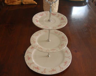 Lovely Pink with Blue Floral Tea Stand/Appetizer Tray/Cupcake Tray/Cake Stand,MATCHING, Wedding, Reception, Table Decor,Silver trim(P334