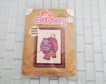 Purple Hippo Hippopotamus Needlepoint UNOPENED Sunset Designs - Jiffy Stitchery