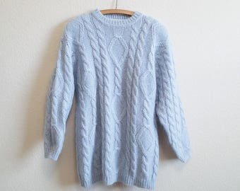 Blue Slouchy Mohair Sweater Small Medium Large - Cable Knit Light Blue Long Sweater