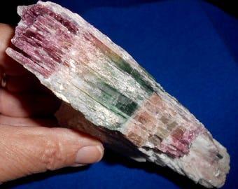 Spectacular MULTICOLOR TOURMALINE CRYSTAL variety Elbaite on Feldspar*Pink, Green & Peach!