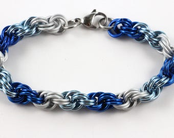 Spiral Chainmaille Bracelet | Hand Crafted Chainmaille Jewelry | Handmade Bracelet | Blue, Light Blue, and White | Anodized Aluminum